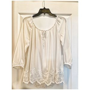 Club Monaco Silk Embroidered Blouse